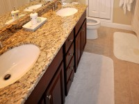 Master Bathroom with granite countertop and dual sinks
